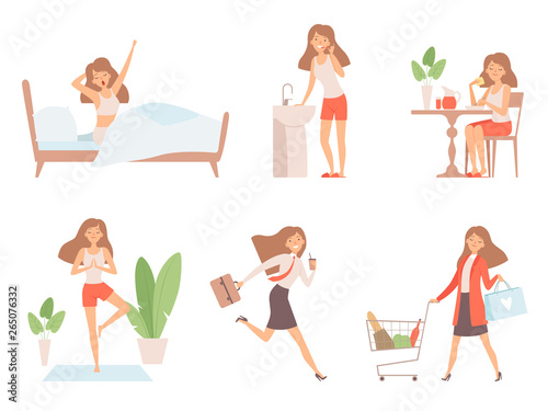Woman Daily Routine Business Lady Time Management Life Every Day Process Working Mother Vector Cartoon Characters Illustration Of Daily Routine Workday And Yoga Buy This Stock Vector And Explore Similar Vectors