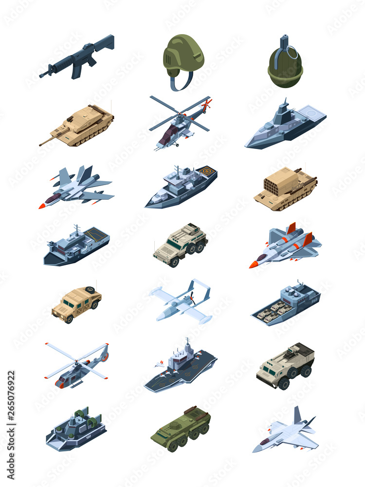 Fototapeta Military isometric. Security guards in uniform soldiers with tanks all-terrain vehicle machine guns grenades shields vector collection. Illustration of military war machine, isometric transport