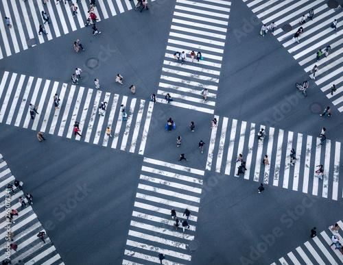 Fotografía People walking Crossing street Sign Top view Crosswalk in city