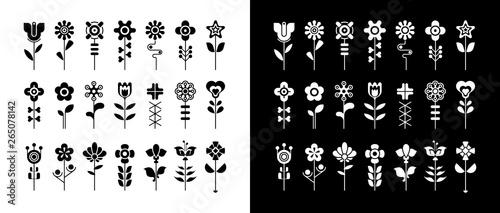 Foto op Aluminium Abstractie Art Black and white floral vector icon set