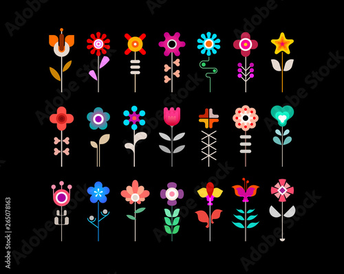 Foto op Aluminium Abstractie Art Colorful flower vector icon set