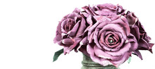 Bouquet Of Purple Roses On Whi...