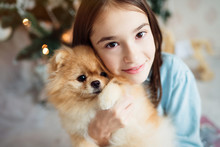Child Girl Is Holding Puppy On Her Hands Near The Christmas Tree
