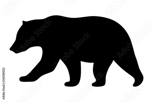 Fotografie, Tablou Grizzly bear or polar bear silhouette flat vector icon for animal wildlife apps