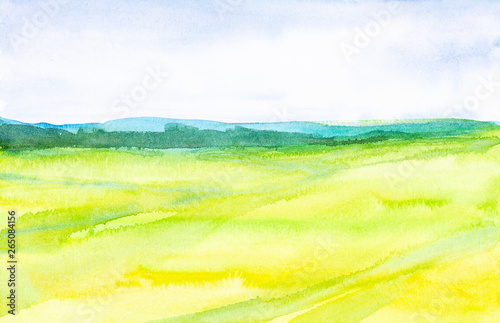Poster Jaune Watercolor abstract illustration of a Russian field with a forest in the background
