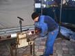 equipment machine for metal pipe bending. outdoor