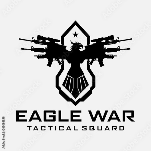Eagle War Logo Template Design Illustration for Game, Team, Military, Armory, We Tablou Canvas