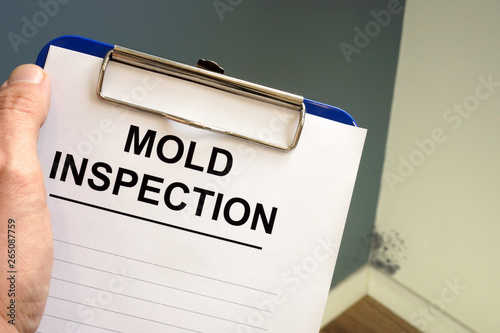 Foto Documents about mold inspection with clipboard.