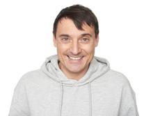 40 Years Old Happy Man In Hoodie