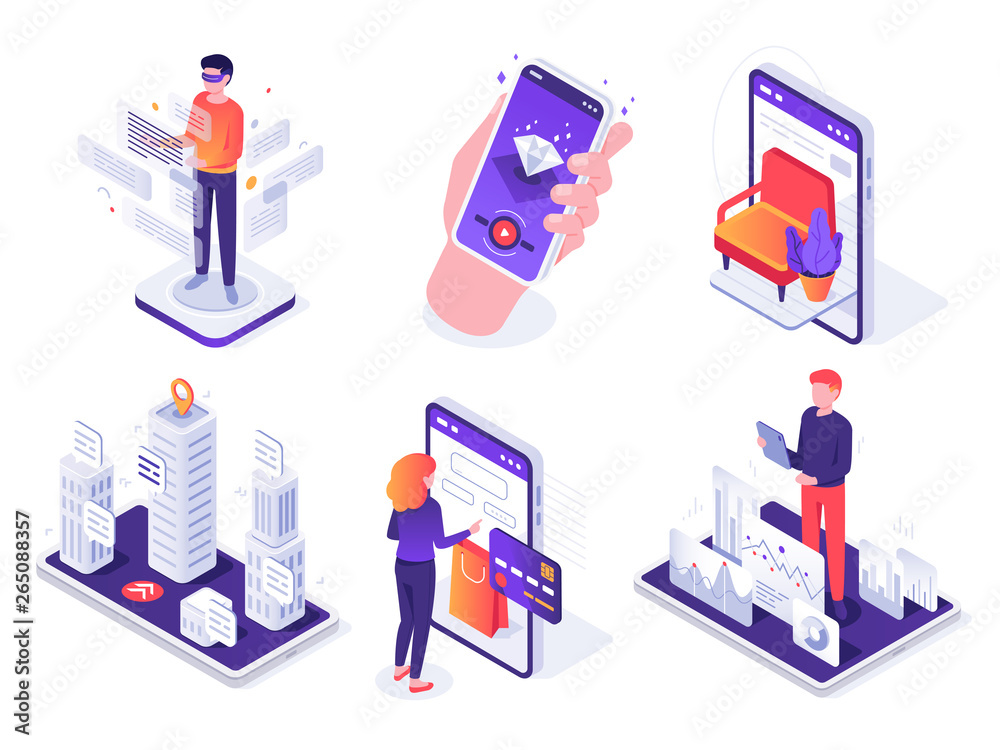 Fototapeta Isometric augmented reality smartphone. Mobile AR platform, virtual game and smartphones 3d navigation vector concept illustration set