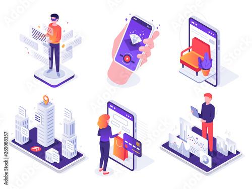 Leinwand Poster Isometric augmented reality smartphone