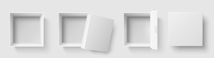 Top view box. Open package square boxes with open cap, empty packages mockup 3d isolated vector illustration set