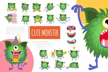 Cartoon Cute Green Monster Composition