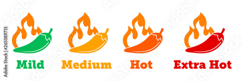 Fototapeta Spicy chili hot pepper vector icons. Spicy Mexican fast food menu or package level labels, mild, medium and extra hot red pepper fire flame obraz