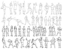 Vector, On White Background, Freehand Sketch People, Set