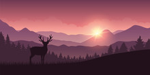 Reindeer In The Mountains With Forest Landscape Vector Illustration EPS10