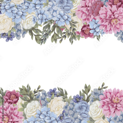 Floral border for design save the date cards, invitations, posters