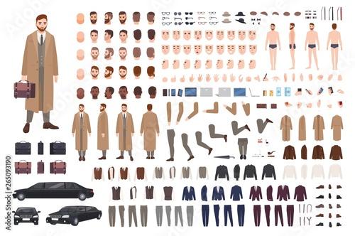 Fotografie, Tablou Elegant bearded man in coat animation set or DIY kit
