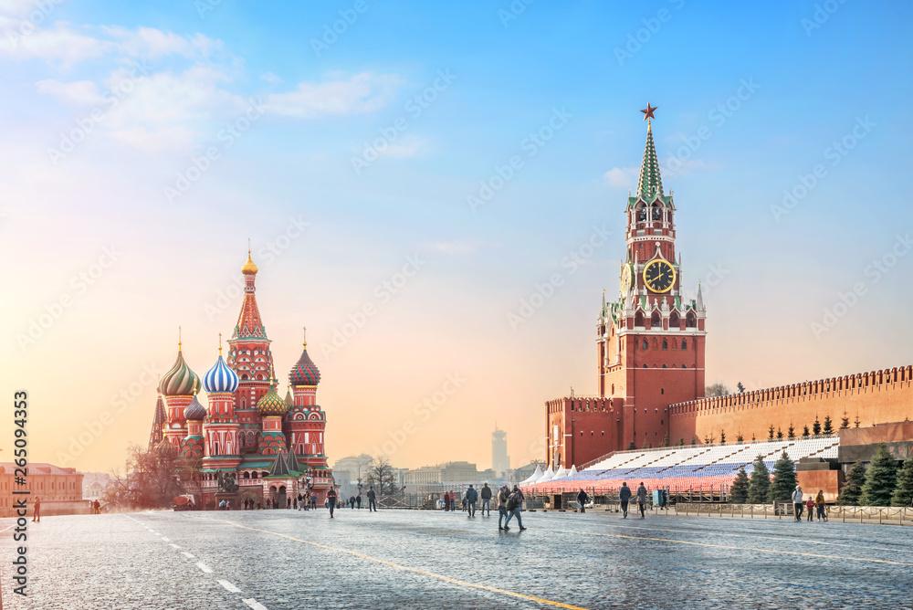 Fototapety, obrazy: Нежное голубое утро на Красной Площади Gentle blue sky morning on Red Square