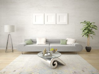 Mock up bright living room with compact sofa and light hipster backdrop.