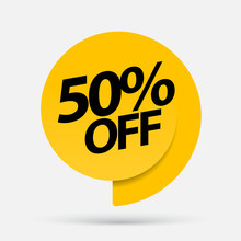 Sale Of Special Offers. Discount With The Price Is 50. An Ad With A Yellow Tag For An Advertising Campaign At Retail On The Day Of Purchase. Vector Illustration