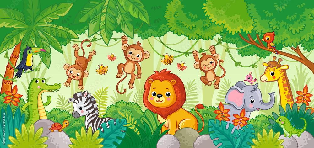 Fototapeta African animals in the jungle. Cute cartoon animals.