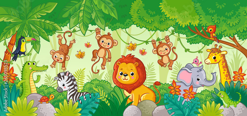 Slika na platnu African animals in the jungle. Cute cartoon animals.