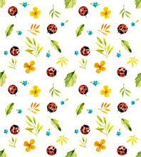 Ladybugs On The Meadow. Seamless Watercolor Illustration
