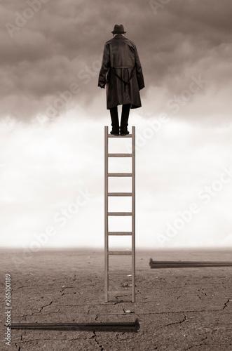 Obraz Man on ladder - fototapety do salonu