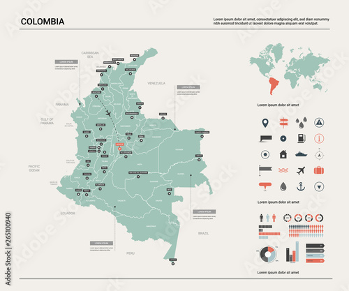 Photo Vector map of Colombia