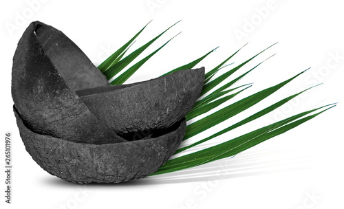 coconut charcoal isolated on white Wallpaper Mural