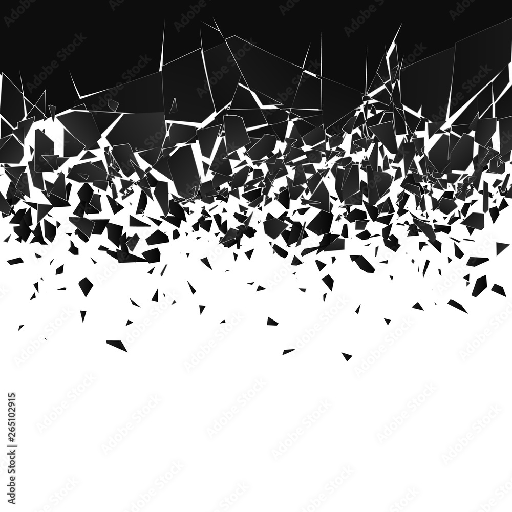 Fototapeta Abstract cloud of pieces and fragments after explosion. Shatter and destruction effect. Vector illustration