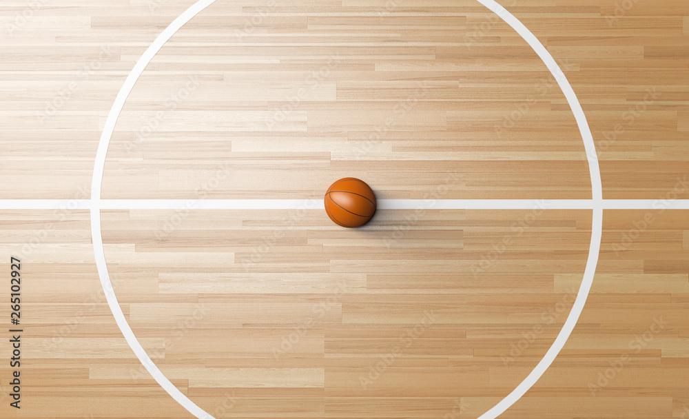 Basketball at the center of Wooden Court 3D rendering - obrazy, fototapety, plakaty