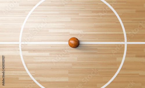 Obraz Basketball at the center of Wooden Court 3D rendering - fototapety do salonu