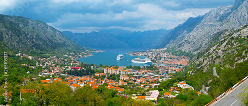Montage in der Fensternische Blau The bay and the city of Kotor, Montenegro