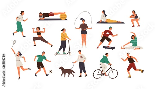 Foto  Set of funny people performing sports activities, fitness workout or playing games