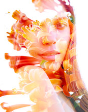 Double Exposure Of An Exotic Natural Beauty With Shoulder Facing The Camera Combined With Beautiful Orange Flowers