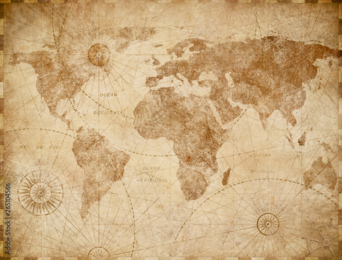 Ingelijste posters Retro Vintage world map illustration