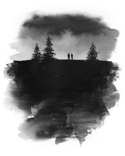 Original Hand Drawn Ink Painting Of Two People Standing Under A Dark Sky With Pine Trees Around Them. Black And White
