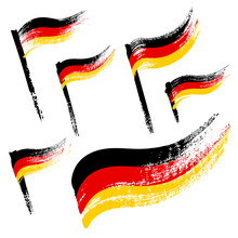 Set Of Grunge Flags Of Germany Isolated On White Background. Hand-drawn Illustration.