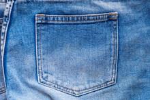 Blue Denim Jeans Back Pocket Close Up