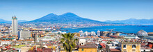Panoramic View Of Naples And Mount Vesuvius, Italy.