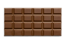 Whole Slab Of Milk Chocolate Isolated On White From Above.
