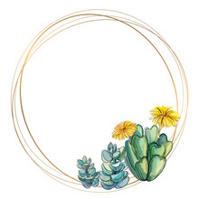 Round Gold Frame With Succulents. Watercolor. Vector