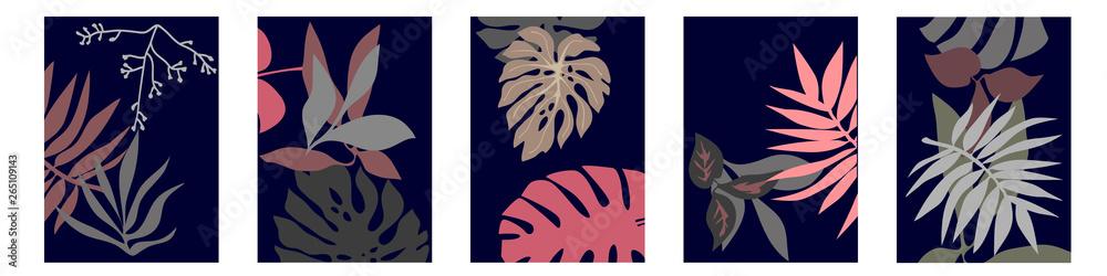 Fototapeta Set of A4 cards with botanical motifs.