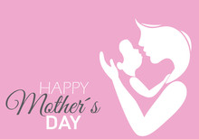 Mothers Day Card. Mother With Baby Inside A Heart