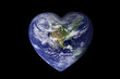 Leinwandbild Motiv Earth in the shape of a heart, ecology and environment concept - Elements of this image are furnished by NASA