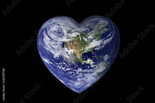 Vászonkép Earth in the shape of a heart, ecology and environment concept - Elements of thi