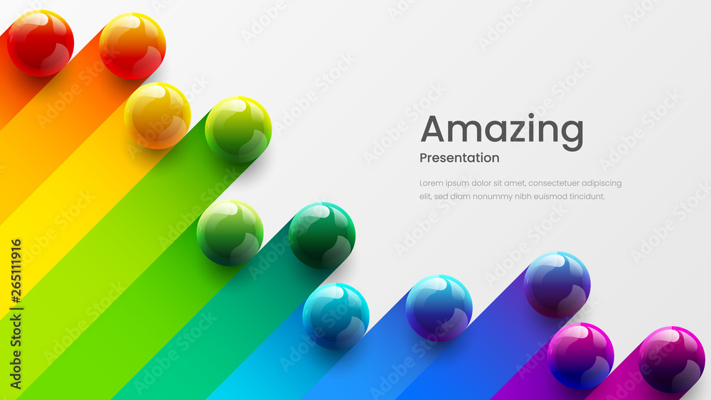 Fototapeta Amazing abstract vector 3D colorful balls illustration template for poster, flyer, magazine, journal, brochure, book cover. Corporate web site landing page minimal background and banner design layout.