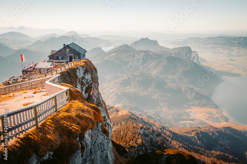 Fototapeta Schafberg mountain summit view at sunset, Austria